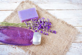Fototapety soap and shampoo lavender, means for body care