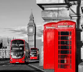 Fototapeta Londyn Czerwone autobusy oraz Big Ben i czerwona Budka telefoniczna