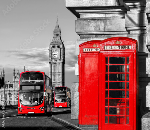 London with red buses against Big Ben in England, UK © samott