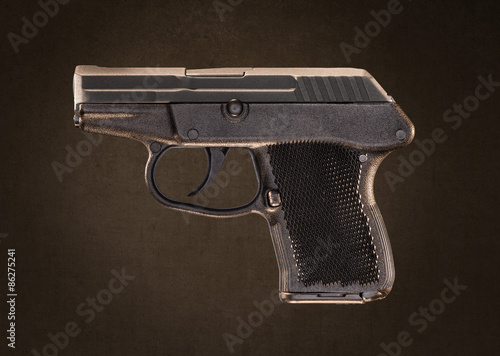 Poster Keltec P-32 Pocket Pistol Gun isolated on Gray Grundge Backgroun