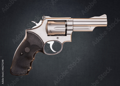 Poster Smith & Wesson 357 Magnum Revolver isolated on Gray Grundge Back