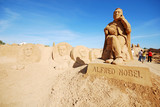 Alfred Nobel large sand sculpture in Algarve, Portugal. poster