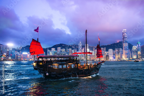 Poster HONG KONG - JUNE 09, 2015: A Chinese traditional junk boa sailin