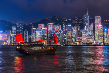 HONG KONG - JUNE 09, 2015: A Chinese traditional junk boa sailin