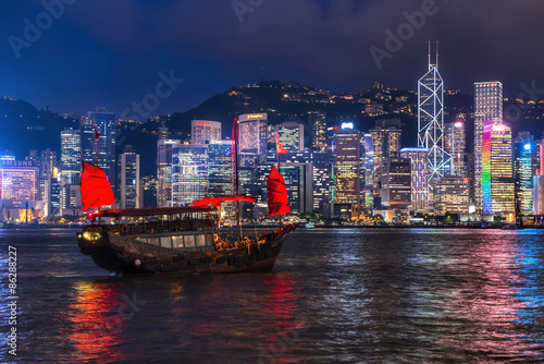Poster HONG KONG - JUNE 09, 2015: A Chinese traditional junk boa sailin