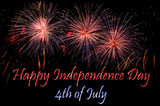 Fototapety Happy Independence Day card with fireworks
