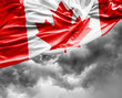 Canadian waving flag on bad day