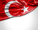 Turkish waving flag on white background