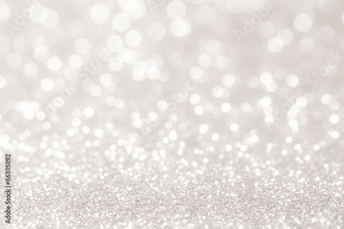 Billede silver and white bokeh lights defocused. abstract background