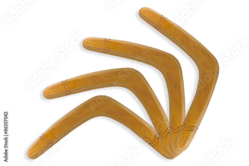 Poster Brown Boomerang isolated white background.