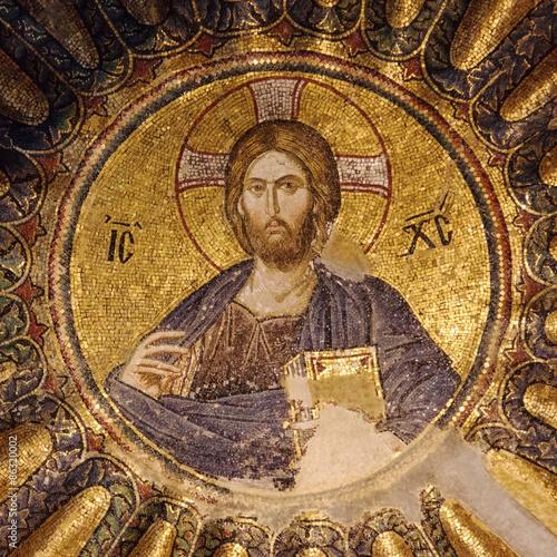 Zdjęcia na płótnie, fototapety, obrazy : Mosaic of Christ Pantocrator in the south dome of the inner narthex of Chora church, Istanbul, Turkey.