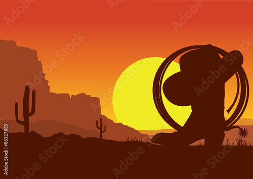 Foto op Plexiglas Bruin Wild west american desert landscape with cowboy boot and lasso