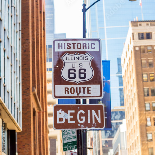 Poster Route 66 sign in Chicago