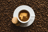 Still life - coffee with map of Afro-EurAsia poster