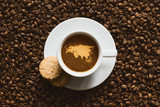 Still life - coffee with map of EurAsia continent poster