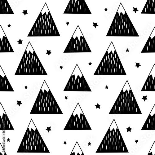 Cotton fabric Seamless pattern with geometric snowy mountains and stars. Black and white nature illustration. Cute mountains background.