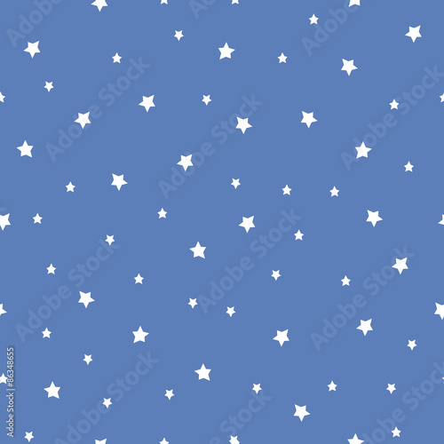 Materiał do szycia Seamless pattern with stars on blue background. Night sky nature illustration. Cute baby shower background.