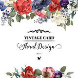 Greeting card with roses, watercolor, can be used as invitation - 86349219