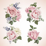 Set of bouquets of roses, watercolor, can be used as greeting ca - 86349400