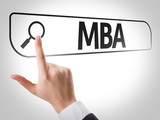 MBA written in search bar on virtual screen poster