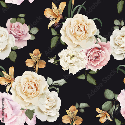 Seamless floral pattern with roses, watercolor. Vector illustrat - 86349840