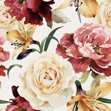 Seamless floral pattern with roses, watercolor. Vector illustrat - 86350653