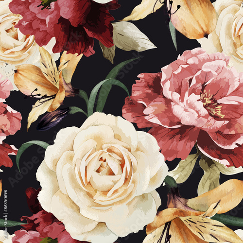 Seamless floral pattern with roses, watercolor. Vector illustrat - 86350696