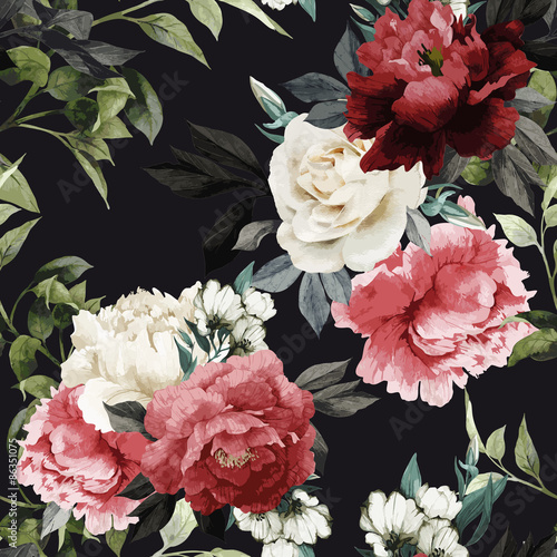 seamless-floral-pattern-with-roses-watercolor-vector-illustrat