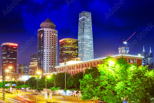 Foto op Canvas Texas BEIJING, CHINA - MAY 20, 2015:Evening, night modern Beijing busi