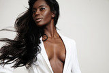 beauty black woman with a stright blowing hair - 86379888