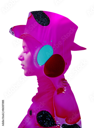 Double exposure of girl wearing hat and abstract background - 86387088