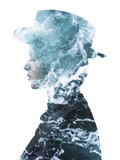 Double exposure of girl wearing hat and sea foam texture