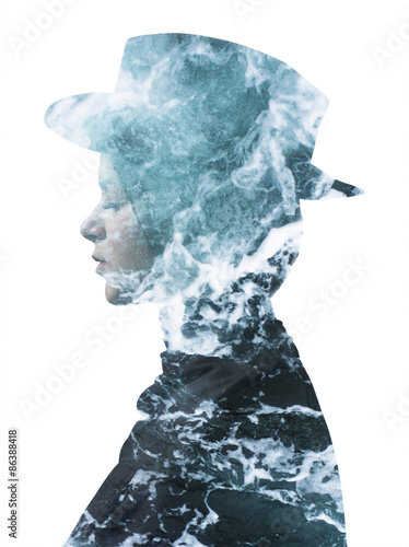 Double exposure of girl wearing hat and sea foam texture - 86388418