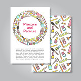 Two sides  invitation card design with manicure and pedicure illustration