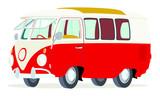 Caricatura furgoneta Volkswagen T1 microbus roja y blanca vista frontal y lateral