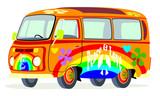 Caricatura furgoneta Volkswagen T2 microbus hippie multicolor vista frontal y lateral