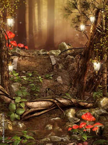 Kolorowy las z lampionami i czerwonymi grzybami