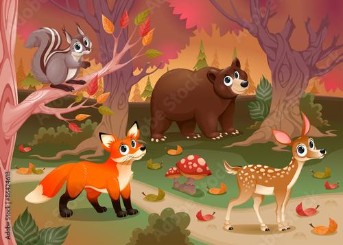 fototapeta na ścianę Śmieszne zwierzęta w lesie