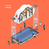 Fototapety Digital library flat isometric vector concept.