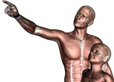 3D muscular man and child
