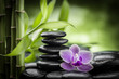 spa concept with zen stones basalt stone bamboo and orchid