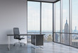 A workplace in a modern corner panoramic office in New York, Manhattan. A black leather chair and a black table. A concept of financial consulting services. 3D rendering.