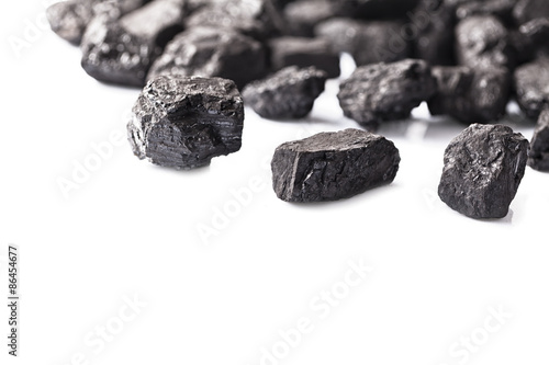 Pile of coal isolated on white background - 86454677