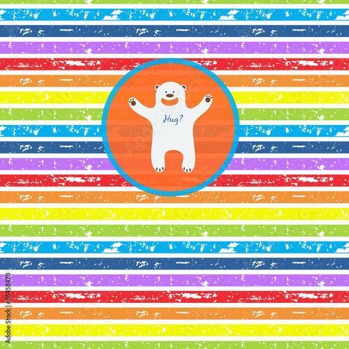 Cute bear, offering hugs, on seamless striped rainbow background