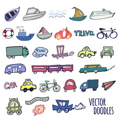 Hand-drawn doodle-style cars, ships and bicycle vector