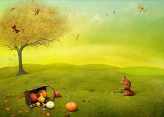 Bright autumn landscape field background