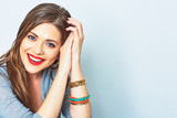 Fototapety Face portrait of smiling woman. Teeth smiling girl. One model