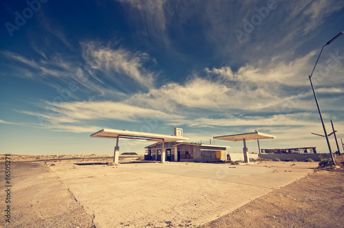 Canvas Route 66 Abandoned Gas Station along the Route 66