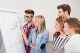 Fototapety motiviertes team arbeitet zusammen am flipchart