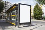Fototapety Blank billboard in a bus stop